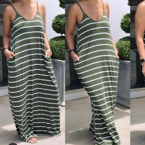 New Army Green Striped Maxi Dress With Pockets